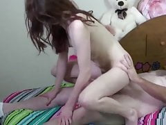 hairy college teen loves her new 70yo owner of an apartment