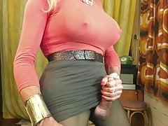 Cumshot Fiona Ring shoots a big hot tranny load in pantyhose
