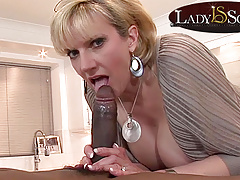 Mature Lady Sonia gets a mouthful of big black cock