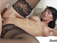 German MILF in Stockings Fucks with Big Dick